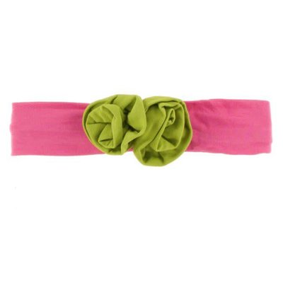 Kickee Pants Solid Flower Headband (Flamingo with Meadow - One Size)