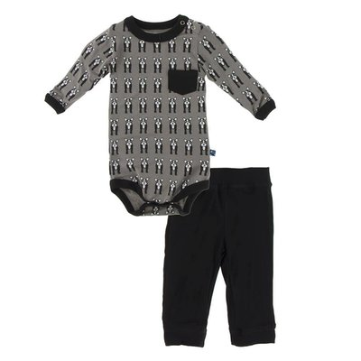 Kickee Pants Print Long Sleeve Pocket One Piece and Pant Outfit Set (French Bulldog)
