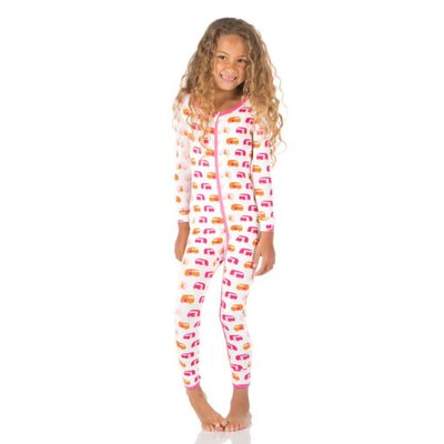 Kickee Pants Print Coverall with Zipper (Natural Camper)