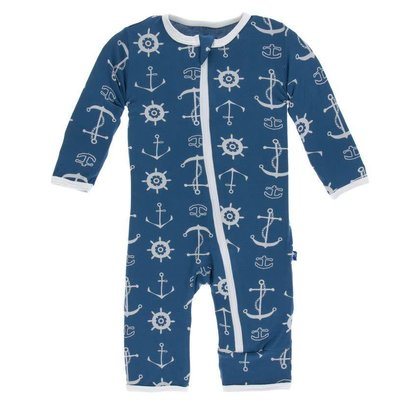 Kickee Pants Print Coverall with Zipper (Twilight Anchor)
