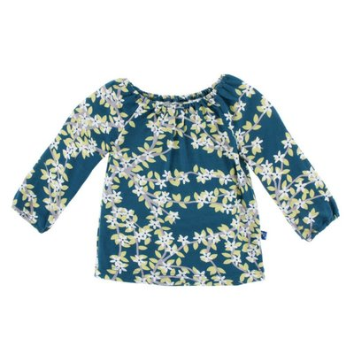 Kickee Pants Print Long Sleeve Peasant Top (Peacock Tree Canopy)