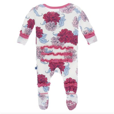 Kickee Pants Print Muffin Ruffle Footie with Zipper (Natural Peony)