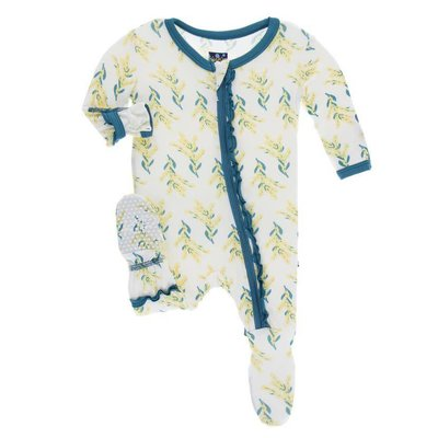 Kickee Pants Print Muffin Ruffle Footie with Zipper (Golden Wattle)