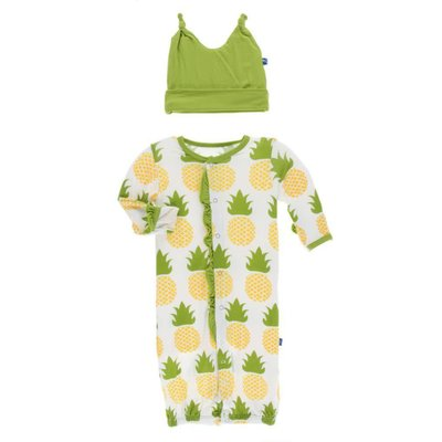 Kickee Pants Print Ruffle Layette Gown Converter and Knot Hat Set (Natural Pineapple)
