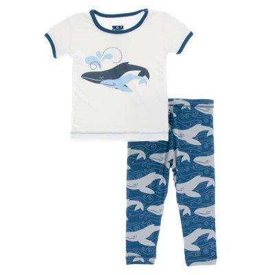 Kickee Pants Print Short Sleeve Pajama Set (Twilight Whale)