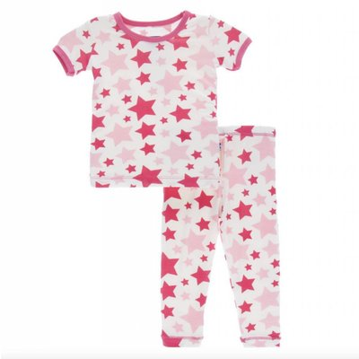 Kickee Pants Print Short Sleeve Pajama Set (Flamingo Star)