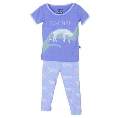 Kickee Pants Print Short Sleeve Pajama Set (Lilac Leopard)