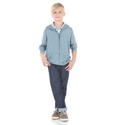Kickee Pants Solid Zip-Front Hoodie (Dusty Sky)