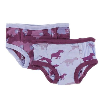 Kickee Pants Training Pants Set (Grapevine Sheep & Lilac Running Labs)