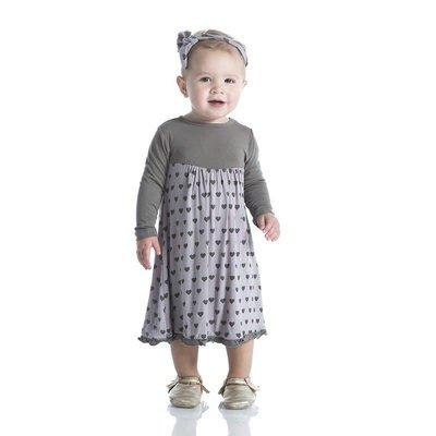 Kickee Pants Print Classic Long Sleeve Swing Dress (Feather Hearts)