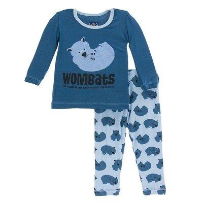 Kickee Pants Print Long Sleeve Pajama Set (Pond Wombat)