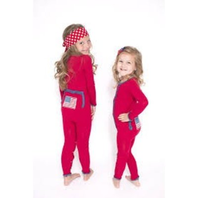 Kickee Pants Muffin Ruffle Coverall (Crimson American Flag)