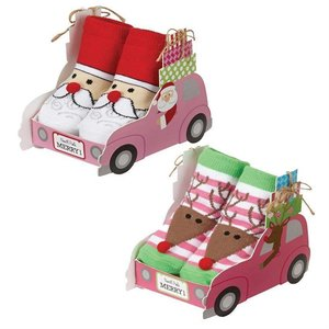 Mud Pie SANTA CAR W SOCKS