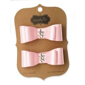 Mud Pie LIGHT PINK SATIN JEWELED HAIR CLIPS