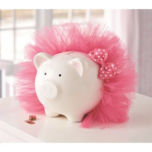 Mud Pie HOT PINK TUTU PIGGY BANK