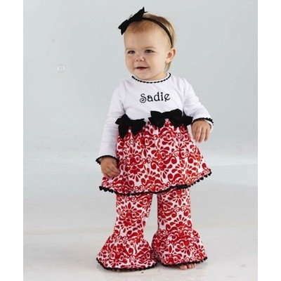 Mud Pie DAMASK MINKY PANT SET - 4Y