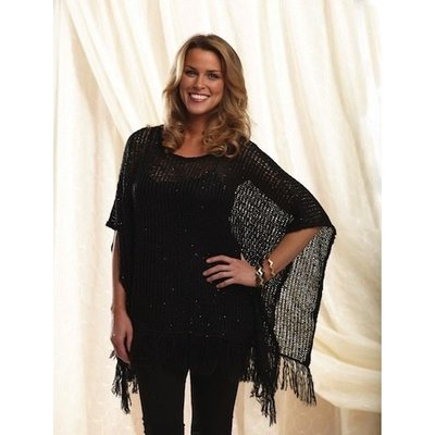Mud Pie ANDIE SEQUIN KNIT PONCHO - Black