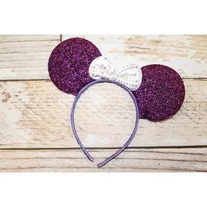 Lincoln&Lexi Sparkly Minnie Headband.Purple/White