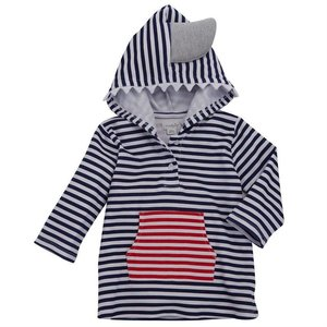 Mud Pie SHARK HOODED COVER-UP