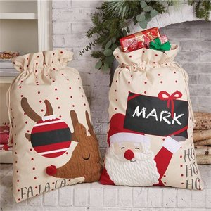 Mud Pie HOLIDAY CANVAS PERSONALIZABLE SACKS