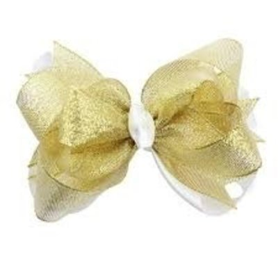 juDanzy Large Gold Shimmer Bow - One Size