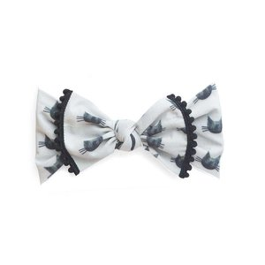Baby Bling Trimmed Printed Knot (Black Cat)
