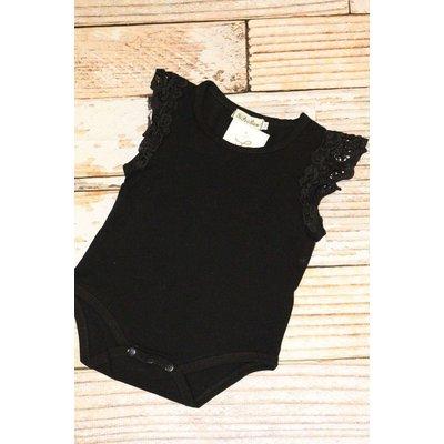 Lincoln&Lexi Flutter Sleeve Onesie(Black)