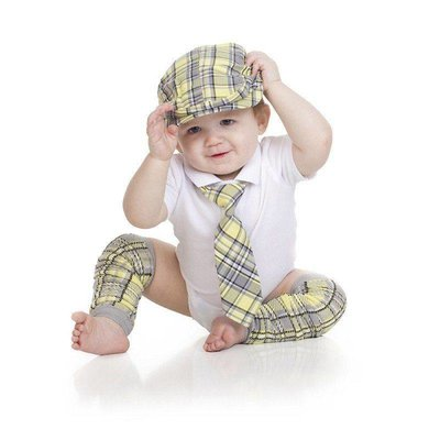 juDanzy Yellow/Grey Plaid Cabbie Set