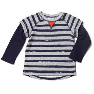 egg Grey Stripe French Terry Shirt