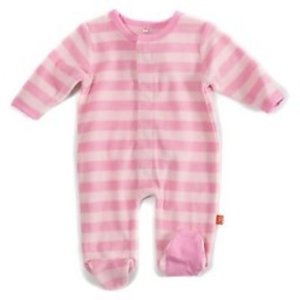 Magnificent Baby Magnificent Pink Tonals Velour Magnetic Footie