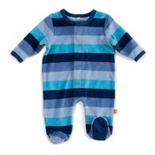 Magnificent Baby Cool Sky Velour Magnetic Footie