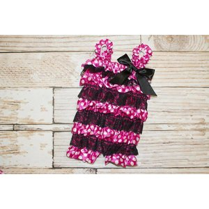Lincoln&Lexi Minnie Mouse Lace Romper (Hot Pink)