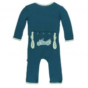 Kickee Pants Applique Coverall with Zipper (Heritage Blue Motorcycle)