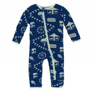 Kickee Pants Print Coverall with Zipper (Flag Blue Carnival)