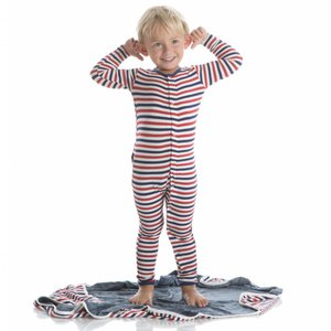 Kickee Pants Print Coverall with Zipper (USA Stripe)