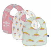 Kickee Pants Bib Set (Strawberry Carnival, Natural Ice Cream, Apple Pie Blossom - One Size)