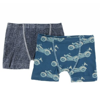 Kickee Pants Boxer Briefs Set (Denim & Heritage Blue Motorcycle)
