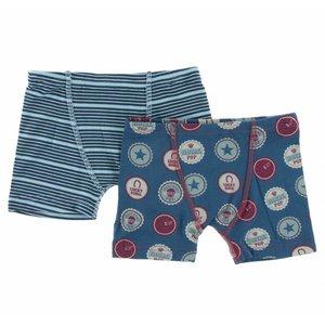 Kickee Pants Boxer Briefs Set (Shining Sea Stripe & Soda Pop Caps)