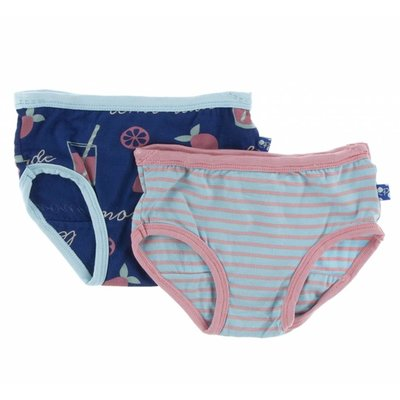 Kickee Pants Girl Underwear Set (Pink Lemonade & Strawberry Stripe)