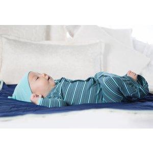 Kickee Pants Print Layette Gown Converter & Knot Hat Set (Shining Sea Stripe)
