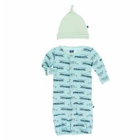 Kickee Pants Print Layette Gown Converter & Knot Hat Set (Shining Sea Woody)