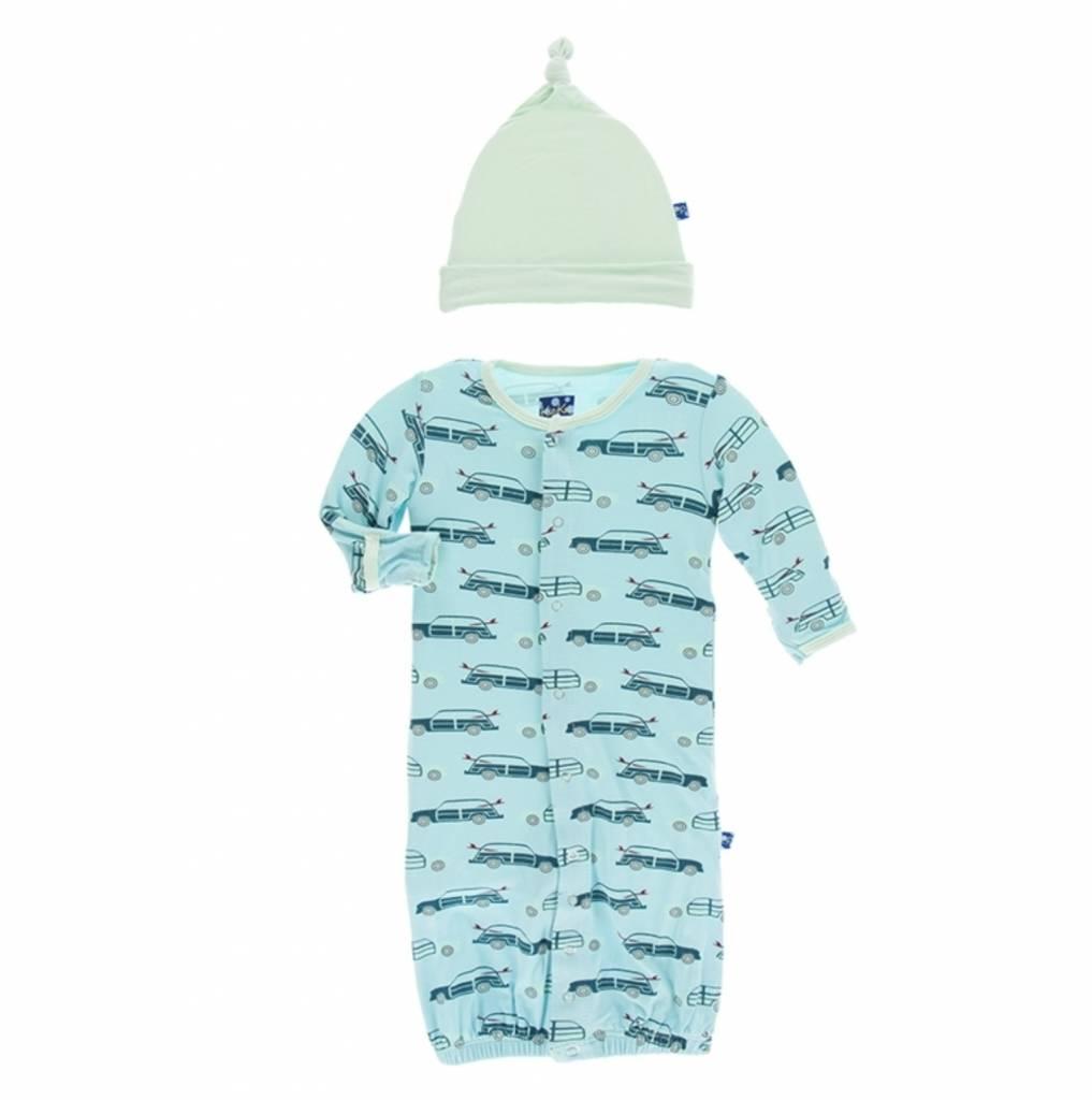 Kickee Pants Print Layette Gown Converter & Knot Hat Set (Shining ...