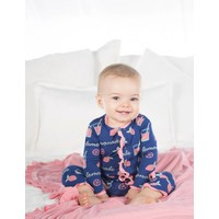 Kickee Pants Print Muffin Ruffle Coverall with Zipper (Pink Lemonade)