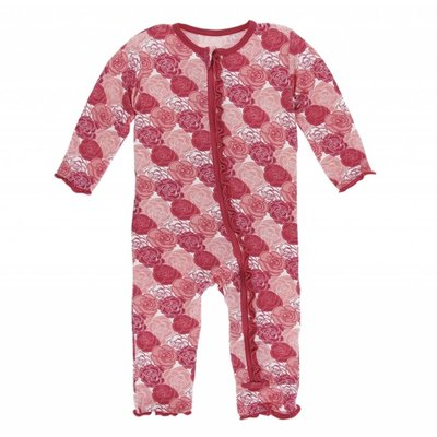 Kickee Pants Print Muffin Ruffle Coverall with Zipper (Roses)