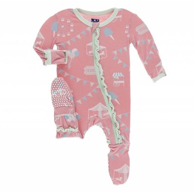 Kickee Pants Print Muffin Ruffle Footie with Zipper (Strawberry Carnival)