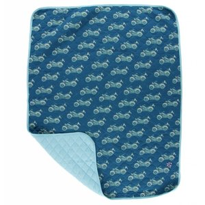 Kickee Pants Print Quilted Stroller Blanket (Heritage Blue Motorcycle - One Size)