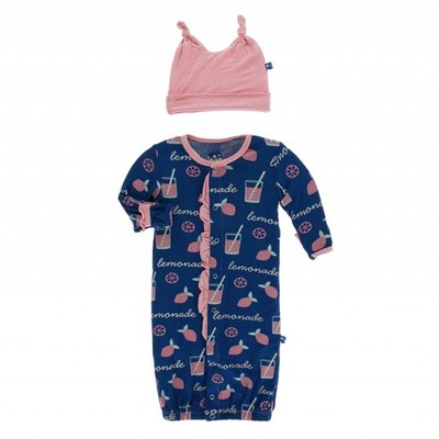 Kickee Pants Print Ruffle Layette Gown Converter & Double Knot Hat Set (Pink Lemonade)