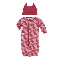 Kickee Pants Print Ruffle Layette Gown Converter & Double Knot Hat Set (Roses)