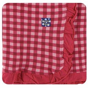 Kickee Pants Print Ruffle Stroller Blanket (Flag Red Gingham - One Size)