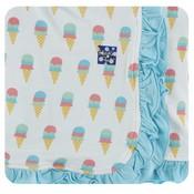 Kickee Pants Print Ruffle Stroller Blanket (Natural Ice Cream - One Size)